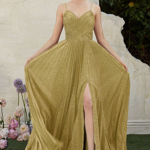 Gold Leg Slit Bridesmaid Long Dress